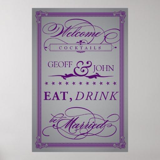 """Vintage """"Eat, Drink, Be Married"""" Cocktails Poster"""