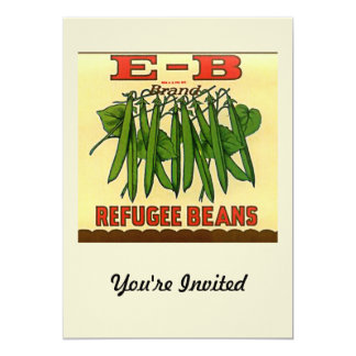 Vintage EB Brand Refugee Green Beans 5x7 Paper Invitation Card