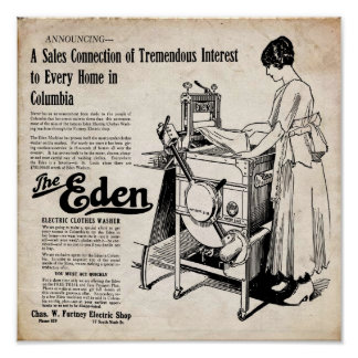 Vintage Eden Electric Clothes Washer Print