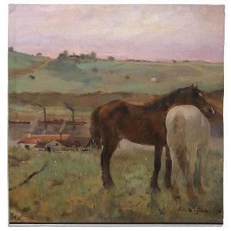 Vintage Edgar Degas Horses in a Meadow Napkin