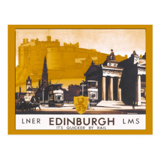 Vintage Edinburgh LNER/LMS railway travel ad Postcard