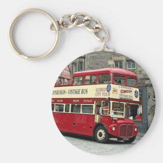 Vintage Edinburgh Tour Bus, Scotland, UK Basic Round Button Key Ring