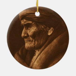 Vintage Edward S Curtis Geronimo Photograph Round Ceramic Decoration