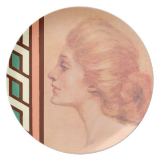 Vintage Edwardian Woman Delineator Cover Gibbs Party Plate