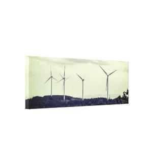 Vintage Effect | Wind Turbines Canvas Print