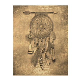 Vintage Effects | Feathers Dream Catcher | Sepia Wood Print