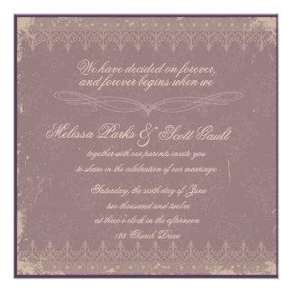 Vintage eggplant damask wedding invitation