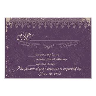 Vintage eggplant damask wedding RSVP Card