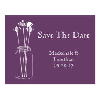 Vintage Eggplant Purple Mason Jar Save The Date Postcard