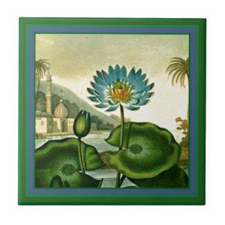 Vintage Egyptian Blue Lotus Flower Green Leaves Small Square Tile