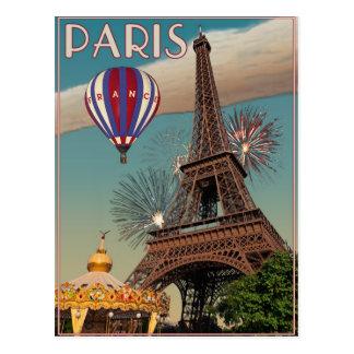 Vintage Eiffel Tower - 18x24 Postcards
