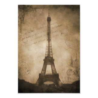 vintage eiffel tower 9 cm x 13 cm invitation card