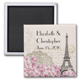 Vintage Eiffel Tower and Pink Flowers Wedding Date Square Magnet