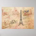 Vintage Eiffel Tower Art Poster