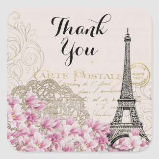 Vintage Eiffel Tower Collage Wildflowers Thank You Square Sticker