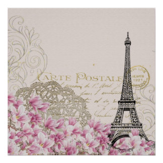 Vintage Eiffel Tower Collage with Pink WIldflowers Poster