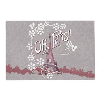 Vintage Eiffel Tower Oh Paris France Daisy Laminated Place Mat