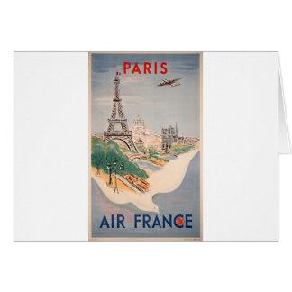 Vintage Eiffel Tower Paris Air Travel Advertising Greeting Card