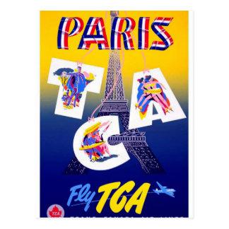 Vintage Eiffel Tower Paris Air Travel Advertising Postcard