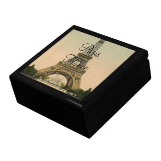 Vintage Eiffel Tower Paris France Poscard -giftbox Large Square Gift Box