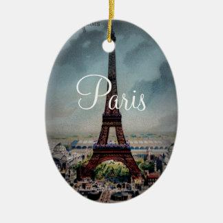 Vintage Eiffel Tower Paris France Postcard Ceramic Oval Decoration