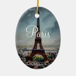 Vintage Eiffel Tower Paris France Postcard Christmas Ornament