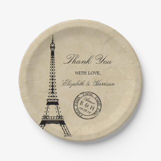 Vintage Eiffel Tower Paris Postmark Wedding 7 Inch Paper Plate