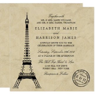 Vintage Eiffel Tower Paris Postmark Wedding Card