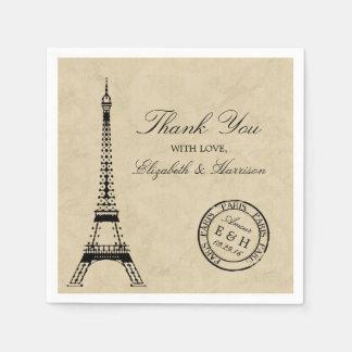 Vintage Eiffel Tower Paris Postmark Wedding Disposable Napkins
