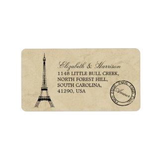 Vintage Eiffel Tower Paris Postmark Wedding Label