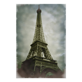 Vintage Eiffel Tower Paris Travel Poster