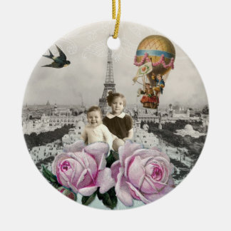 Vintage Eiffel Tower Pink Roses Hot Air Balloon Christmas Ornament