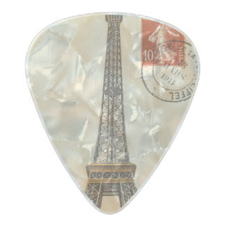 Vintage Eiffel Tower Postcard Clayton Guitar Pick