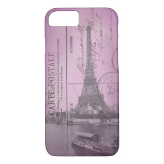 Vintage Eiffel Tower Postcard in Pink iPhone 7 cas iPhone 8/7 Case