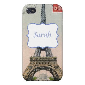 Vintage Eiffel Tower Postcard iPhone 4 Cases