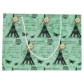 Vintage Eiffel Tower Postcards on Green Large Gift Bag