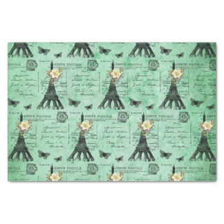 Vintage Eiffel Tower Postcards on Green Tissue Paper