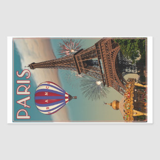Vintage Eiffel Tower Rectangle Stickers