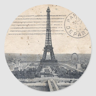 Vintage Eiffel Tower Round Sticker