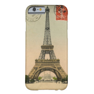 Vintage Eiffel Tower Stamped Postcard Barely There iPhone 6 Case