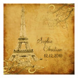 Vintage Eiffel Tower+swirls/DIY fonts Personalised Announcements