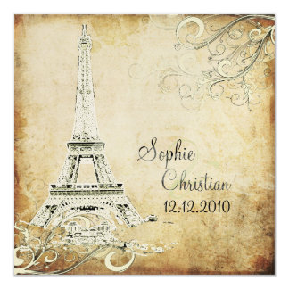 Vintage Eiffel Tower+swirls/DIY fonts Invite