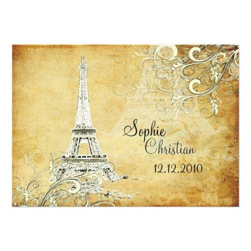 Vintage Eiffel Tower + swirls  Wedding Invitations