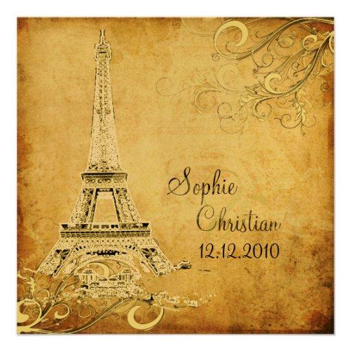 Eiffel Tower Wedding Invitations: Vintage Eiffel Tower + Swirls Wedding Invitations