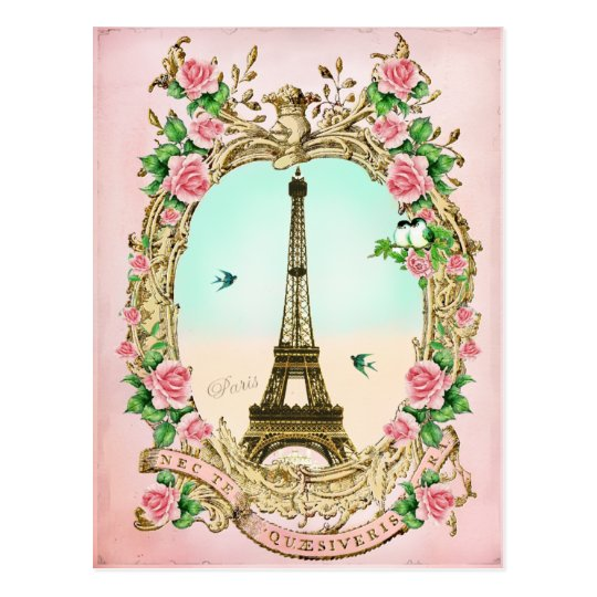 Vintage Eiffel tower with Pink Roses Postcard
