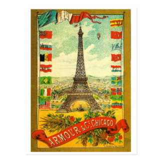 Vintage Eiffel Tower world flags Paris Armour Postcard