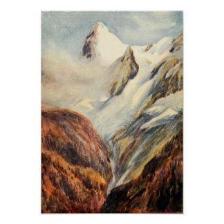 Vintage Eiger Mountains in the Bernese Alps Poster