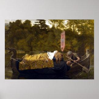 Vintage Elaine The Lady of Shalott King Arthur Poster