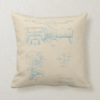 Vintage Electric Reel Patent art pillow