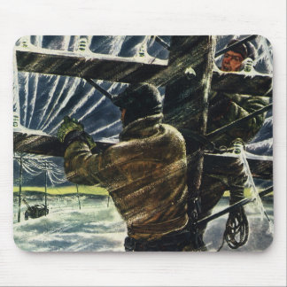 Vintage Electricians Working in a Snow Storm Mousepad